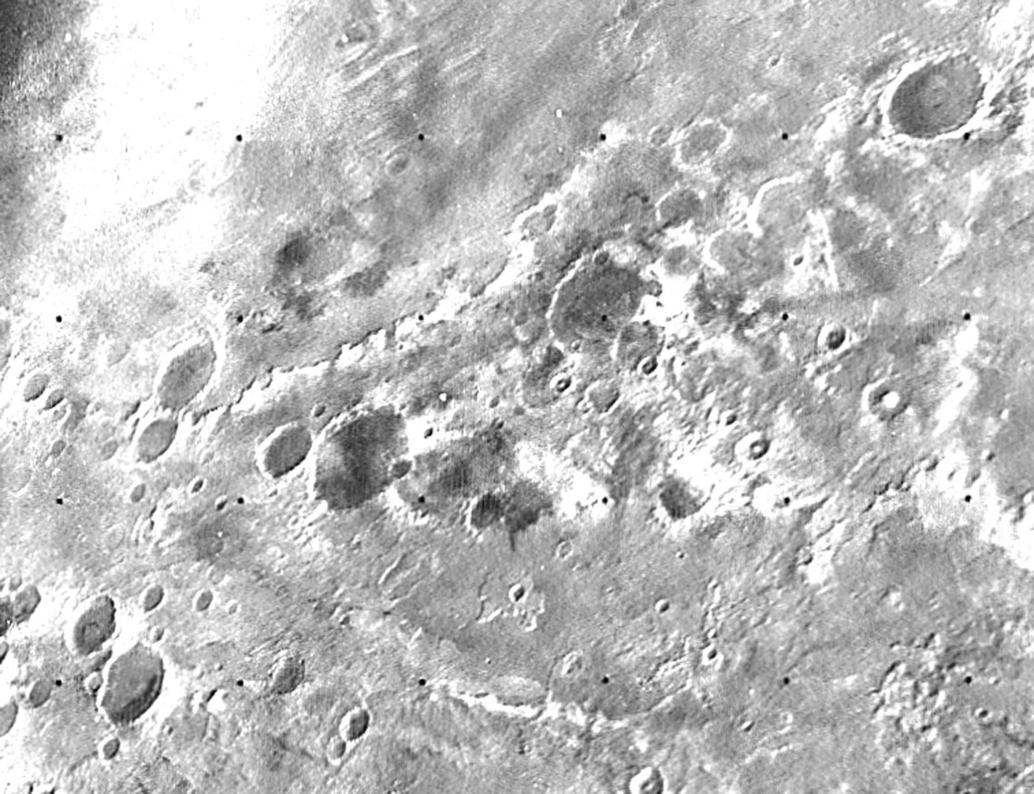 Mariner 7, following Mariner 6's flyby on July 31, had its closest approach at a distance of 3,524 kilometers, in what was the first dual mission to a planet. By chance, both craft flew over cratered regions and missed both the giant northern volcanoes and the equatorial grand canyon that were discovered by Mariner 9. Their approach pictures did, however, show that the dark surface features long seen from Earth were not canals, as once thought in the 1800s.