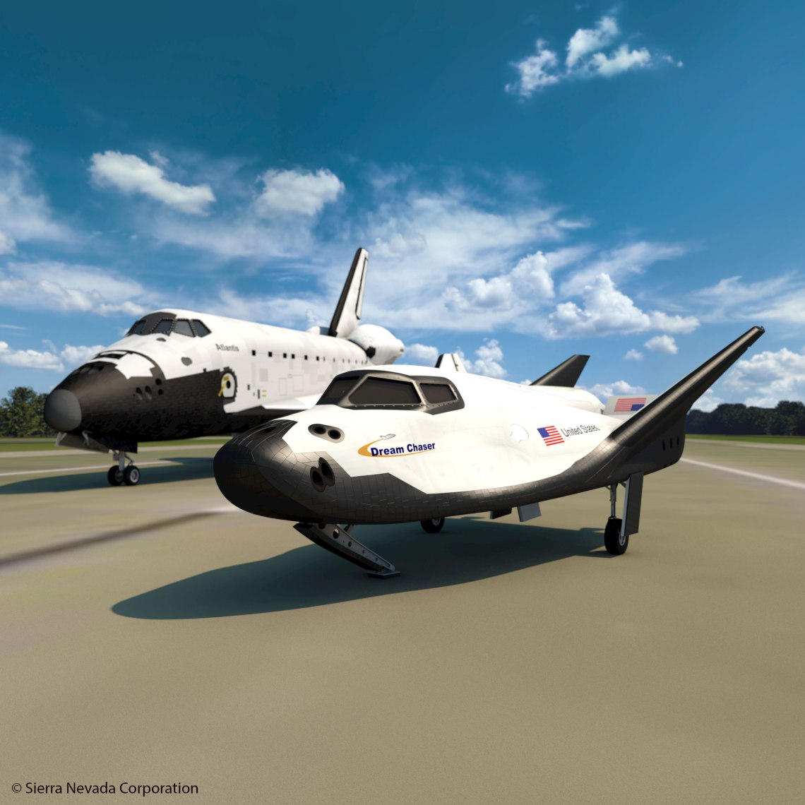 An artist's rendering of Sierra Nevada's Dream Chaser spacecraft alongside Space Shuttle Atlantis at the Shuttle Landing Facility in Florida.  Credit: SNC