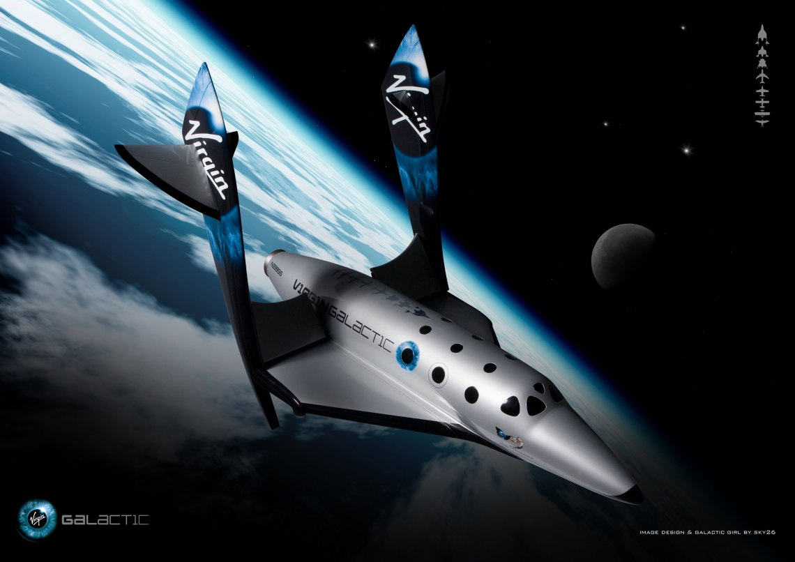 To ensure a safe descent without excessive heating of the spacecraft, SpaceShipTwo's wings will rotate to a 60-degree angle. They will return to horizontal before landing on the Spaceport America runway. Credit: Virgin Galactic