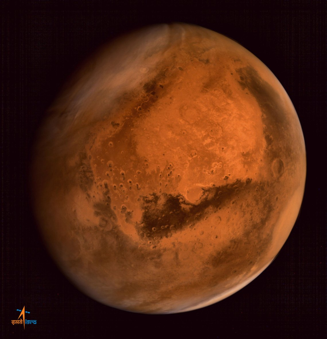 Regional dust storm activities over northern hemisphere of Mars - captured by the ISRO's Mars Orbiter Mission. The image was taken from an altitude of 74500 km from the surface of Mars. Credit: ISRO