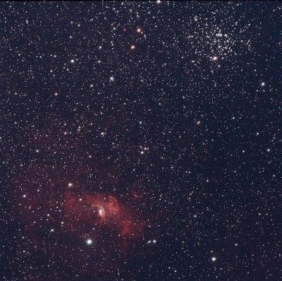 M52 and the Bubble Nebula. Credit: Mike Barrett