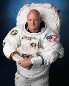 NASA astronaut Scott Kelly, wearing an Extravehicular Mobility Unit (EMU) spacesuit.  Credit: NASA/Robert Markowitz
