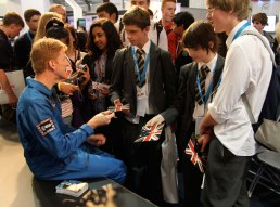 ESA astronaut Tim Peake meets students at Farnborough. Credit: ESA