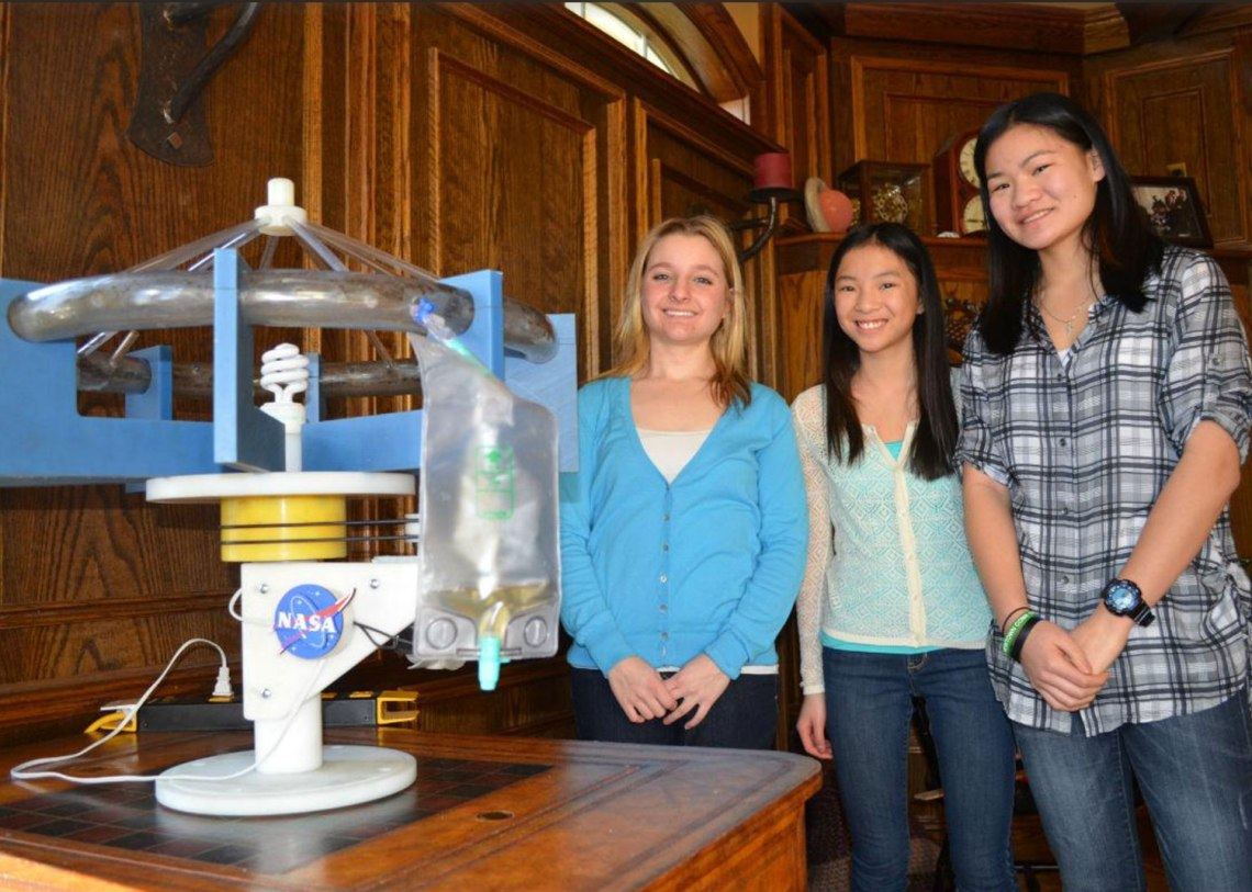 Sisters MaryAnn Bulawa, Adia Bulawa and Lillith Bulawa have developed a hydroponic garden designed to work in the microgravity of low Earth orbit.  They are presently running a crowdfunding campaign to pay for the costs of sending the experiment to the International Space Station.