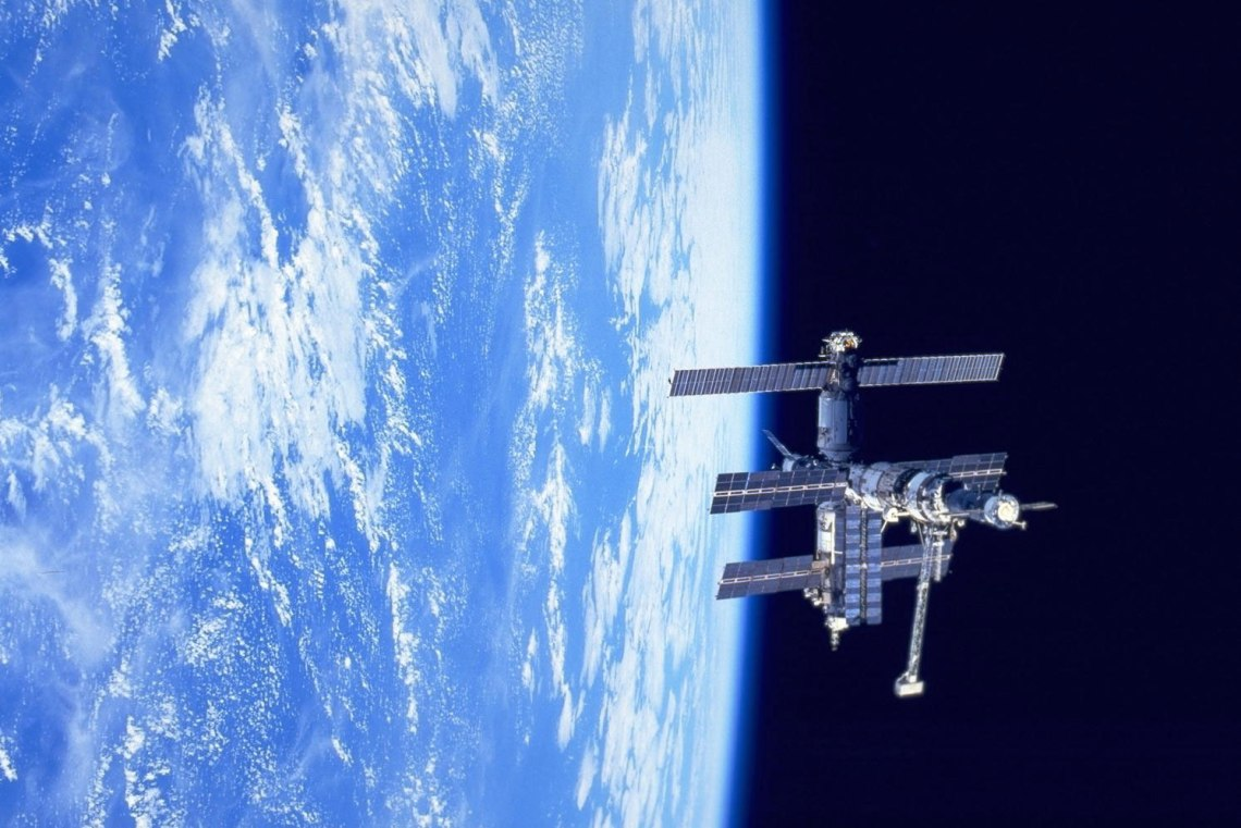 The Russian space station Mir orbited the Earth from 1986 until 2001. This photo was taken from Space Shuttle Discovery in February 1995.  Credit: NASA