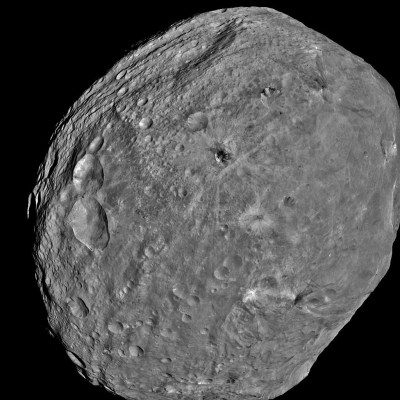Vesta's battered surface as imaged by Dawn's framing cameras (full mosaic).  Credit: NASA/JPL-Caltech/UCLA/MPS/DLR/IDA