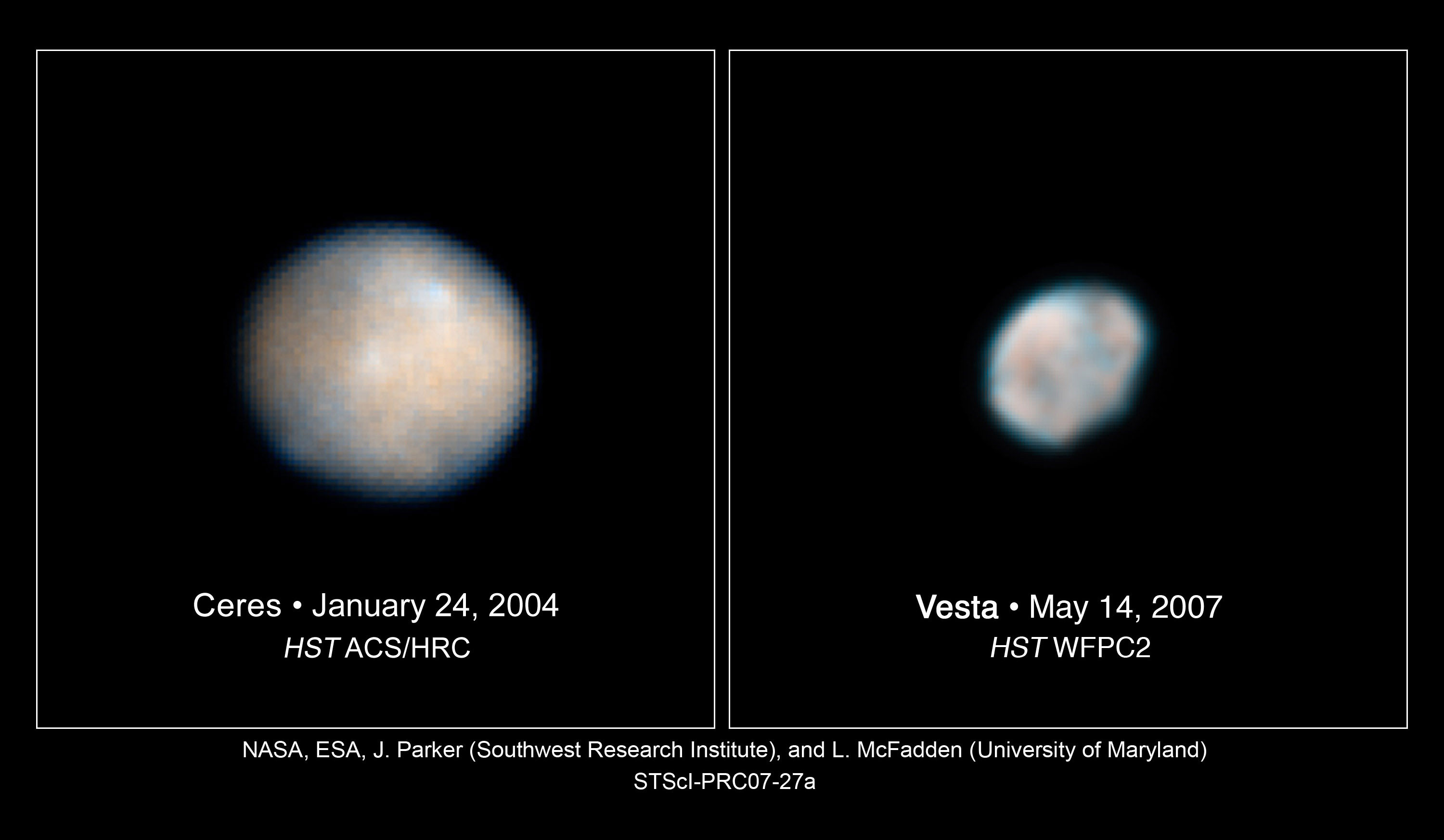 Exploring the dawn of the solar system rocketstem these hubble space telescope images of vesta and ceres show two of the most massive asteroids pooptronica Images