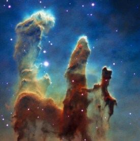 This colour view was created from observations of the Pillars of Creation made with the MUSE instrument on ESO's Very Large Telescope. The parts of the three-dimensional MUSE data cube that correspond to emission from different chemical elements in the clouds have been extracted and combined to create this colour view of the region. Credit: ESO