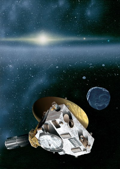 Artist's impression of the New Horizons spacecraft encountering a Kuiper Belt object. Credit: JHUAPL/SwRI