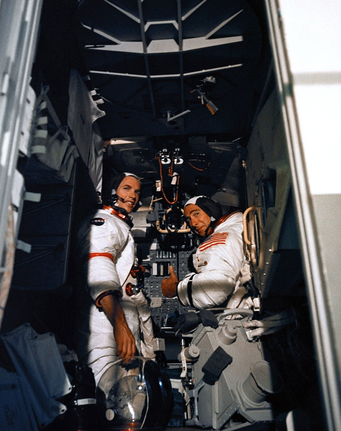 Dave Scott and Jim Irwin in the LM simulator.  Credit: NASA via Retro Space Images