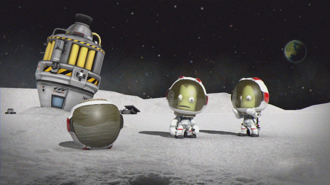 Conduct your own Apollo mission in KSP by launching a rocket to the moons Mun or Minmus. Credit: Squad, Monkey Squad S.A de C.V.