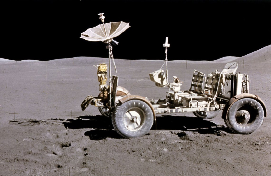 The Lunar Roving Vehicle (LRV) was taken during the Apollo 15 mission. Powered by battery, the lightweight electric car greatly increased the range of mobility and productivity on the scientific traverses for astronauts. It weighed 462 pounds (77 pounds on the Moon). Credit: NASA