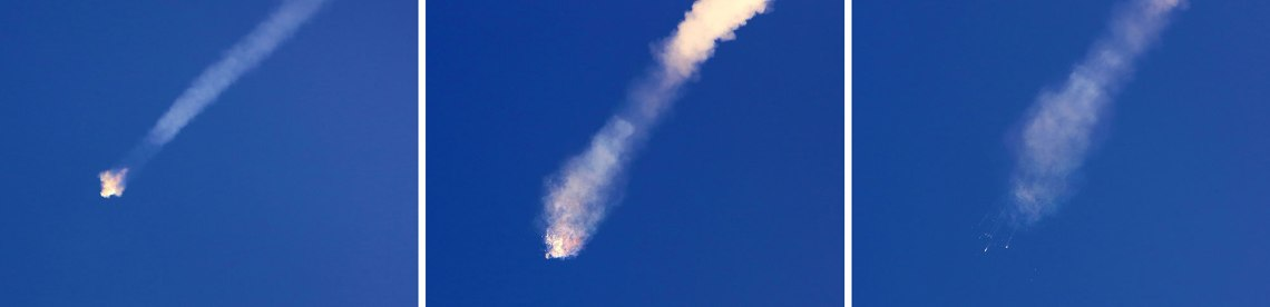The SpaceX Falcon 9 rocket carrying the Dragon capsule on the CRS-7 resupply mission to the International Space Station suffered a failure of the second stage and disintegrated seconds after passing through maximum aerodynamic pressure. The rocket and cargo are presumed to be a total loss. Credit: Alan Waters / AmericaSpace