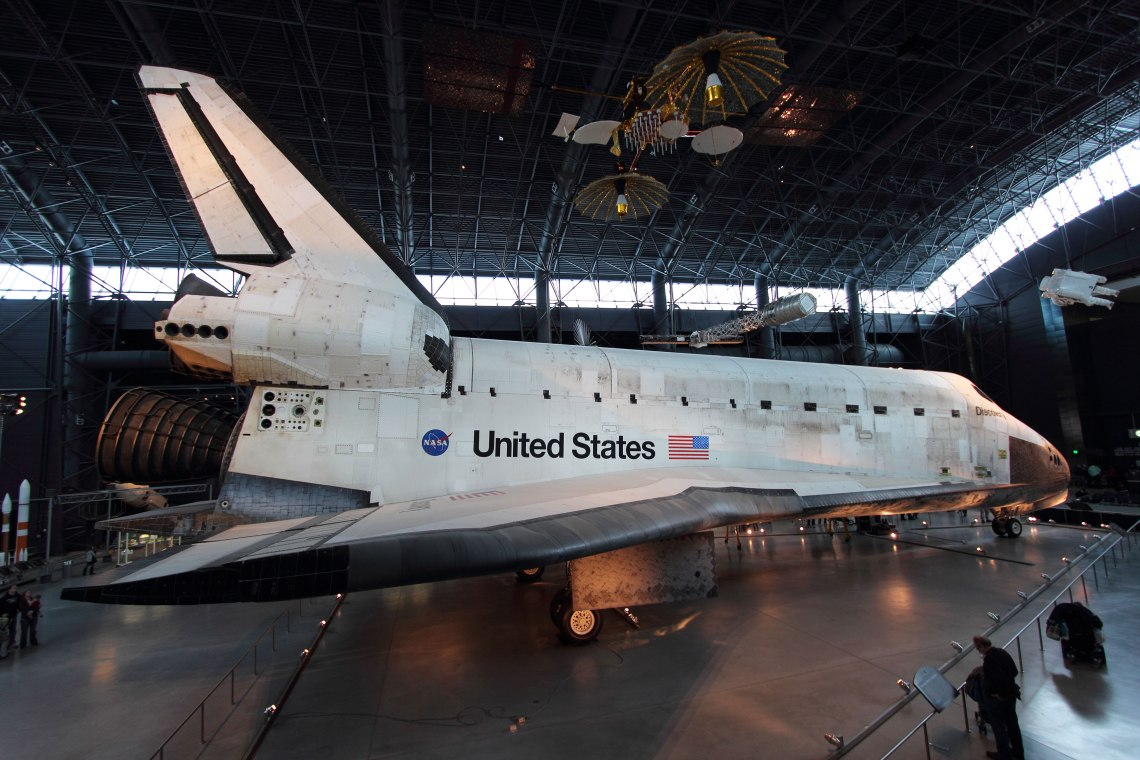 Space Shuttle Discovery on display in the James S. McDonnell Space Hangar in the Steven F. Udvar-Hazy Center. Photo: Lloyd Campbell