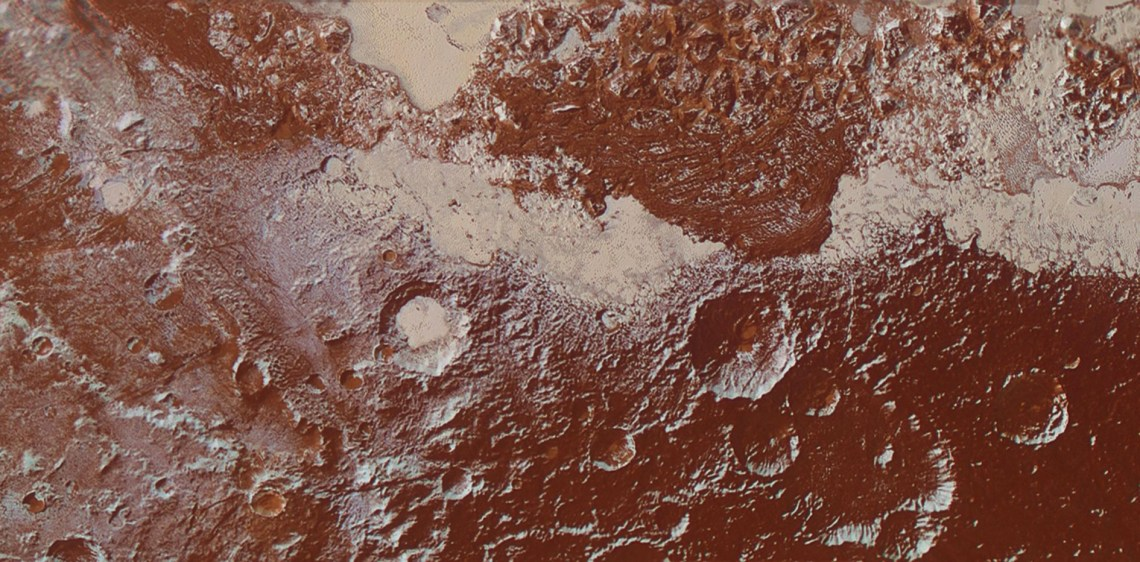 Figure 13: The eastern edge of Cthulhu Regio, at the margins of Sputnik Planum, a region where tholins have coated the pre-existing relief with a dark reddish-brown layer. Credit: NASA/JHUAPL/SwRI