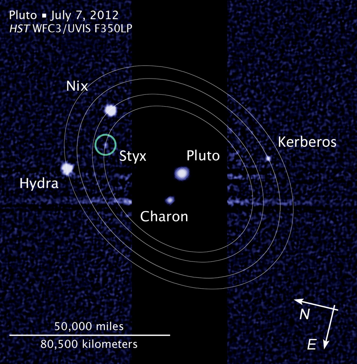 Figure 5: Discovery image of Pluto's tiny moon Styx in 2012, overlaid with orbits of the satellite system, which gave cause for concern to the Pluto Encounter Planning (PEP) Team. Credit: NASA/ESA/L. Frattare (STScI)
