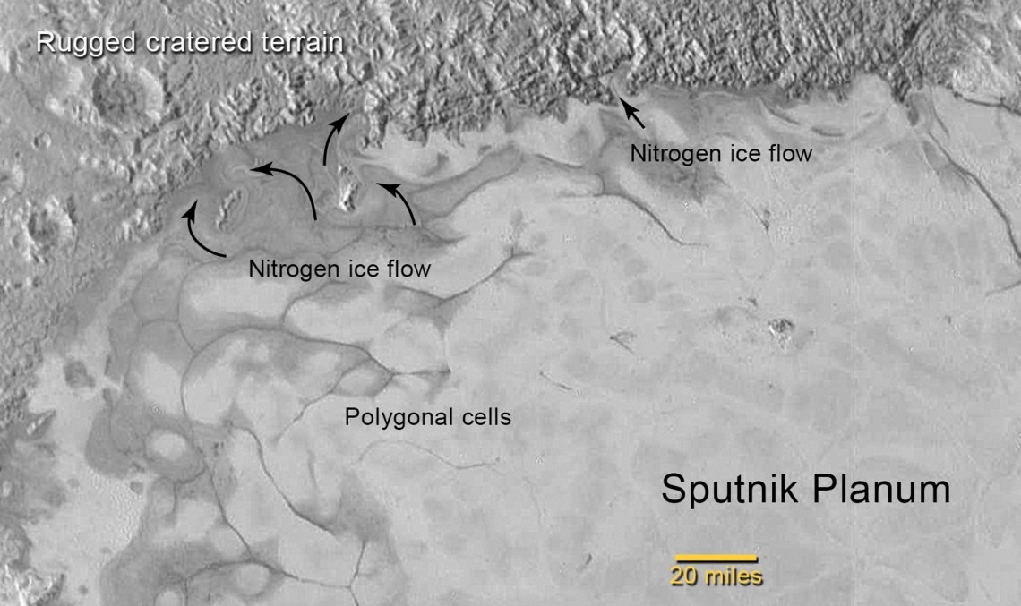 Figure 7: Polygonal cells and glacial flow on the northern margins of Sputnik Planum. Credit: NASA/JHUAPL/SwRI