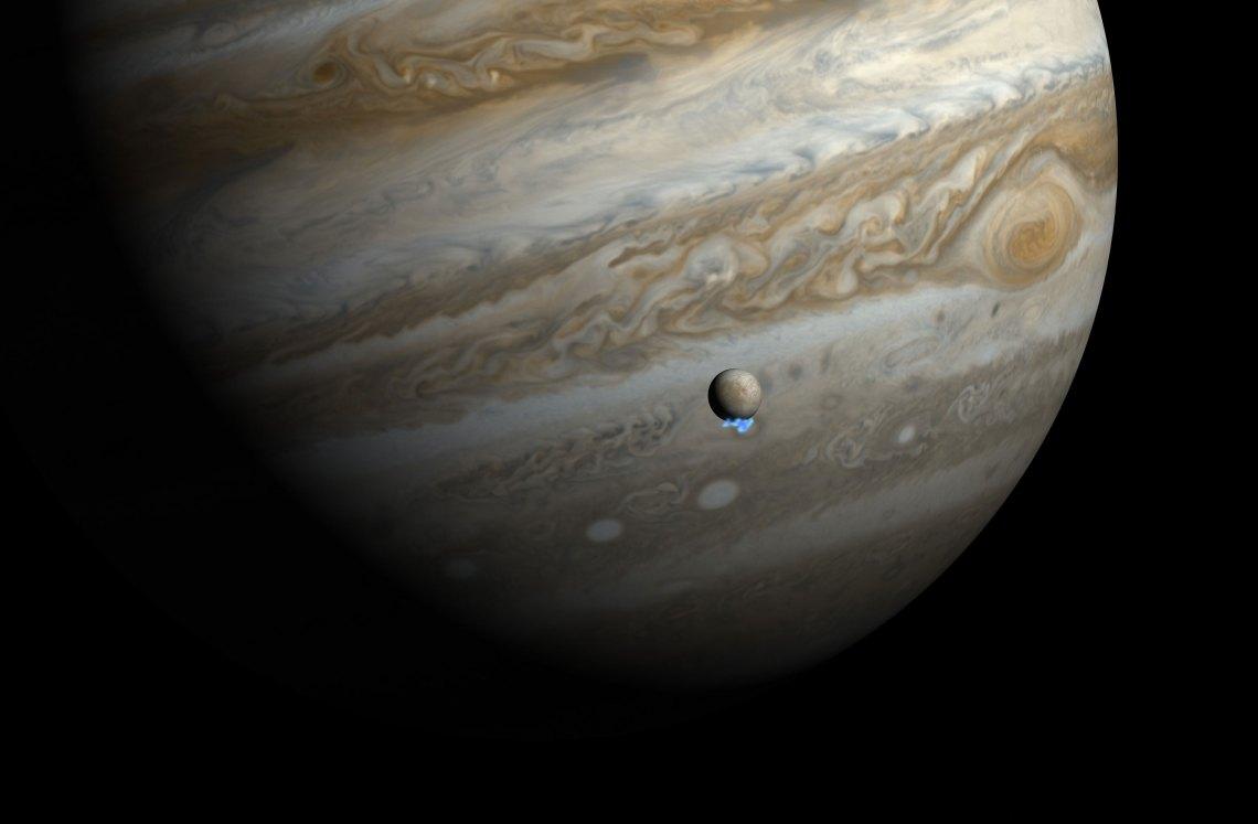 Artist impression of water vapor plumes on Jupiter's moon Europa. Credit: NASA/ESA/M. Kornmesser