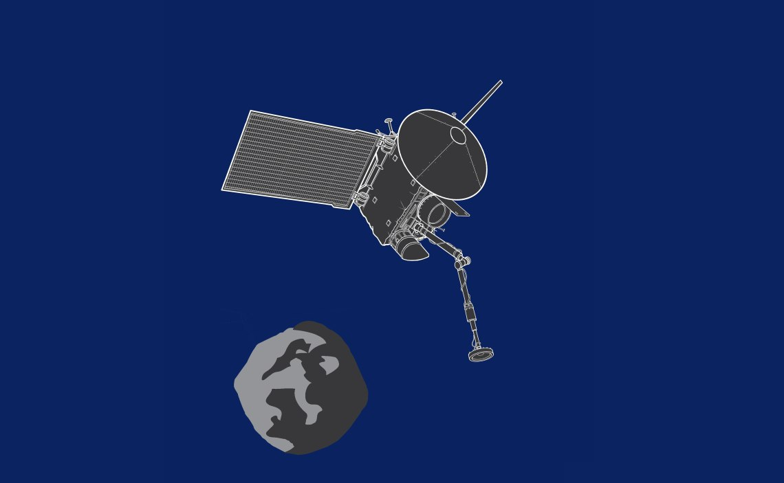 Artist's illustration of the OSIRIS-REx spacecraft. Credt: Sebastian Kings