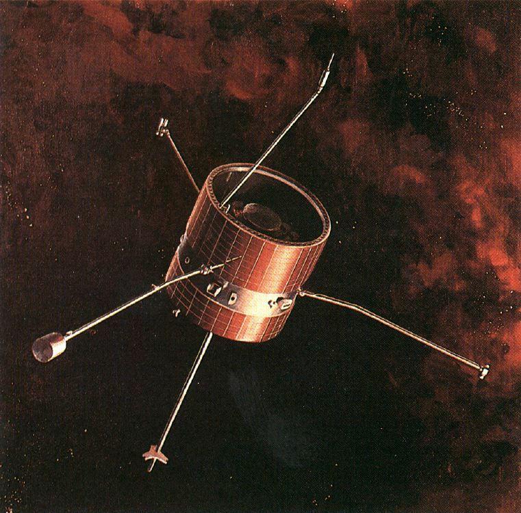 pioneer 7 spacecraft in space drawing