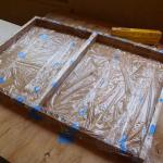 Lining it in plastic wrap works to prevent refractory cement from sticking to the form.