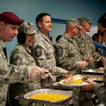 Solders in chow line for Thanksgiving