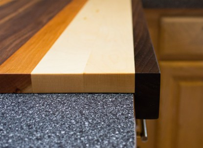 Walnut Cherry and Maple Pastry Board Side