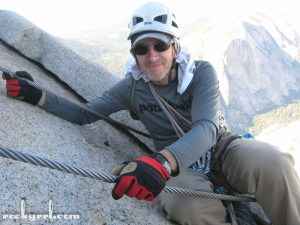 K at a resting spot on the Half Dome cables