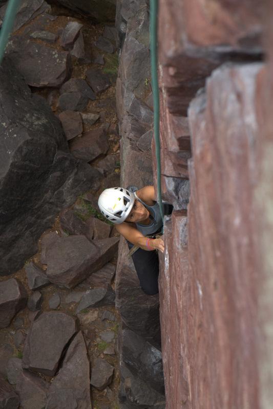 Crack climbing at Devil's Lake