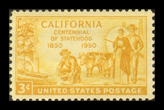 3-cent stamp honoring California's statehood centennial, in 1950.  Image from Rockhounds.com