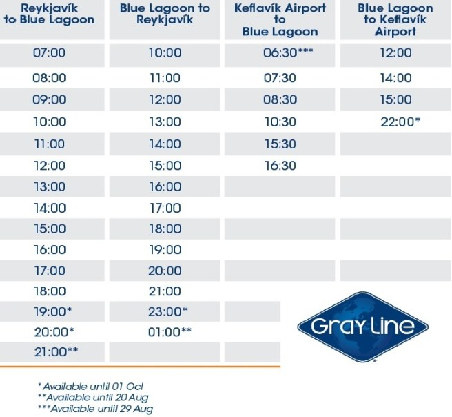 blue lagoon trransfer schedule gray line
