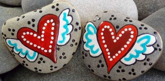 Creative diy painting rock for valentine