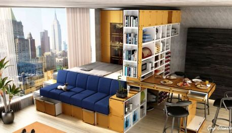 One room apartment layout design ideas 7