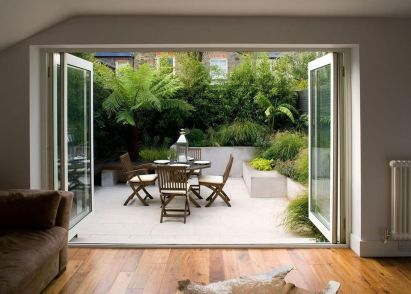 Small courtyard garden with seating area design and layout 113