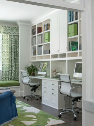 Awesome Built In Cabinet and Desk for Home Office Inspirations 23