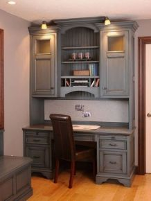 Awesome Built In Cabinet and Desk for Home Office Inspirations 41