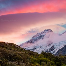 Sunset over Mt Cook nationalpark
