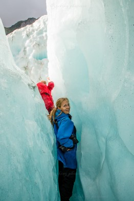 Mira tries to get through the very cramped glacier crack