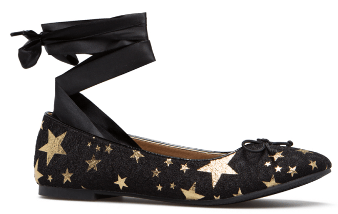 fall fashion 2017, star print shoes, ankle tie shoe, flats