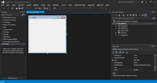 Imagem 3 – Projeto Windows Forms recém-criado.