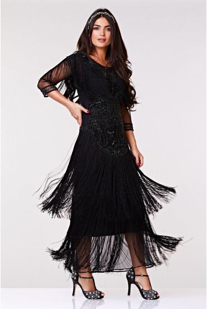 1920s Black Fringed Maxi Dress