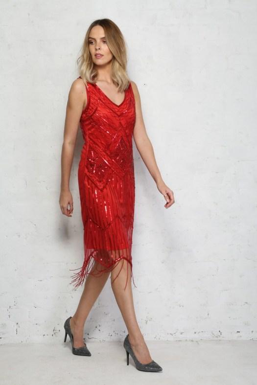 Red Sequin Flapper Dress