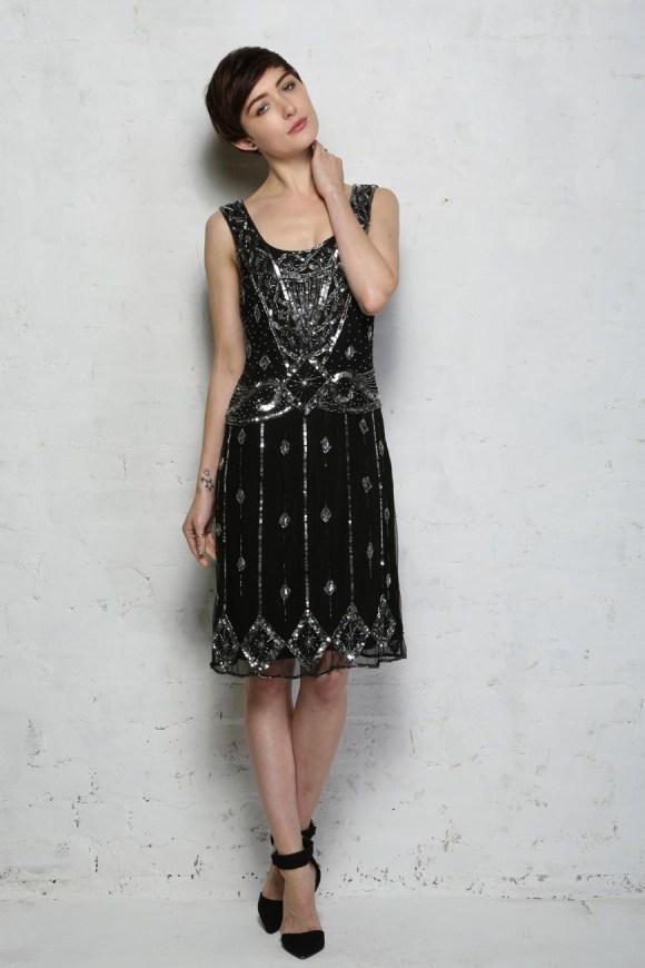 Black Beaded Flapper Dress - Sequinned Evening Dresses