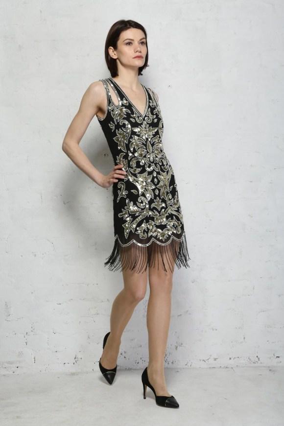 Black And Gold Sequin Flapper Dress - Black Fringed Dress