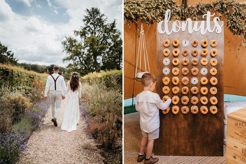 Donut Wall And Macrame Wedding Decor At Tipi Celebration In Berkshire