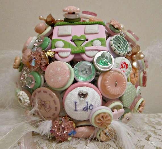 camper van and cross stitch button bouquet