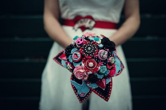 felt and button bouquet