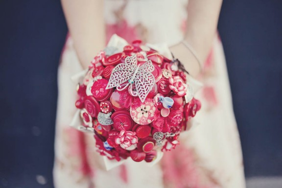 red button and brooch bouquet