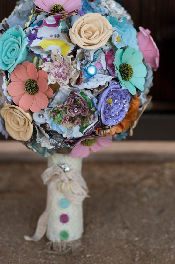 spray painted pastel vintage brooch bouquet
