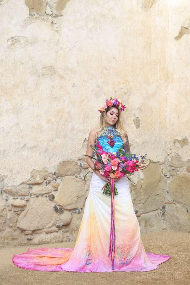 Dia De Los Muertos Inspired Painted Wedding Dress Rock N